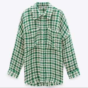 NEW Zara Houndstooth Plaid Oversized Button Up Top